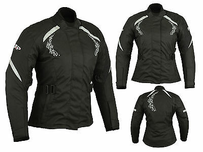 Women Motorcycle Motorbike Scooter Waterproof Cordura Textile Jacket Black /