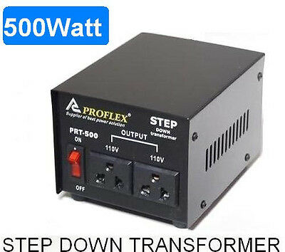 500W Step Down Transformer Stepdown 240V - 110V Black