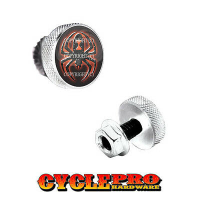 2 Silver Billet Cycle License Plate Frame Tag Bolts RED BLACK WIDOW SPIDER BLACK