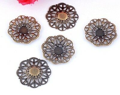"Lot of 10 SMALL FLOWER Antique Bronze-tone FILIGREE WRAPS 7/8"" (21mm) (0318)"