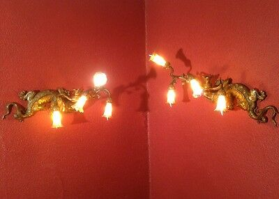 Rare Pair of Antique Crowned Salamander Royal French Bronze Brass Wall Sconces