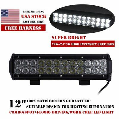 12INCH 72W CREE LED Work Light Bar Spot Flood Combo for Offroad JEEP SUV UTE