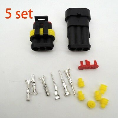 5 sets Kit 3 Pin Way Super seal Waterproof Electrical Wire Connector Plug