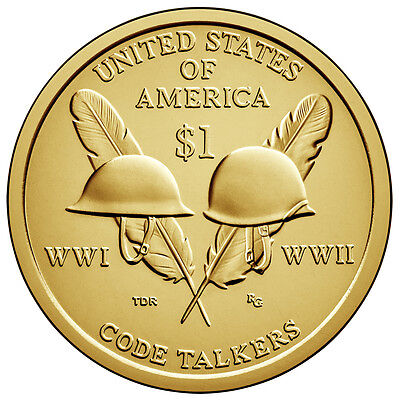 2016 Sacagawea Native American (P&D) 2 Coin $1 Dollar Set Code Talkers Golden BU