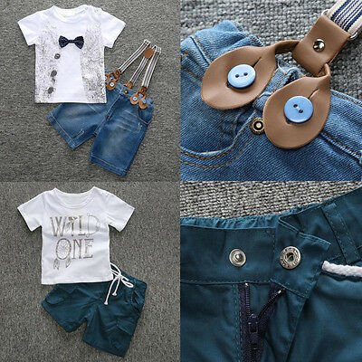 Baby Boys Outfits Short Sleeve T-Shirt Tops + Short Pants Kids Summer Clothes