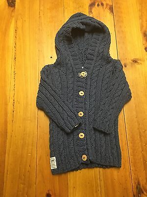*NEW* Boys Fawn & Milk Organic Cotton Hand Knitted Hoodie Size 3-6M Blue