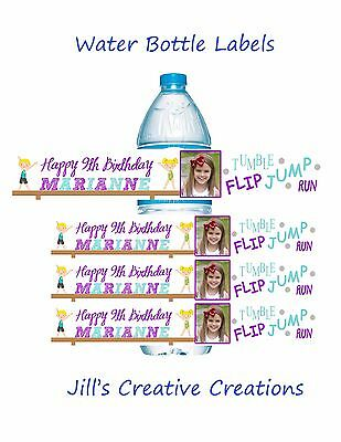 Gymnastic Water Bottle Labels, Gymnastics, Gym, Water Bottle Labels, Birthday