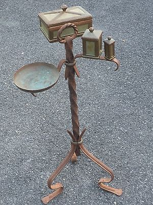 Rare C1930's Arts And Craft Hand Hammered Copper & Iron Cigar Stand