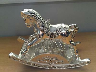 Brand New Boxed Sankyo Music Silver Rocking Horse baby child gift Gorgeous