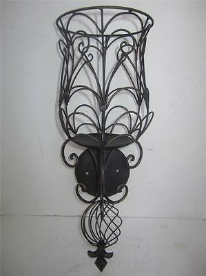 2 Fleur de lis candle holder Wall sconce metal cage scrolls old world tuscan 19""