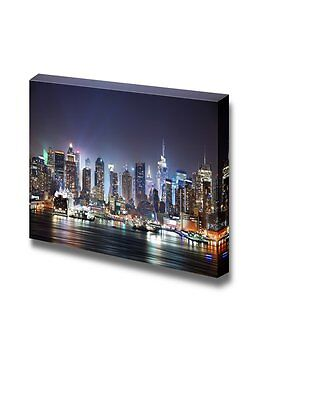 "Canvas - New York City Manhattan Skyline Panorama at Night - 24"" x 36"""