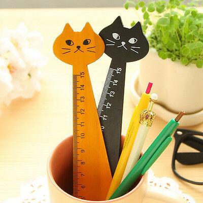 2 Pcs 15 cm Wood Wooden Ruler Rule Precision Single Sided Cats Shaped Stationary