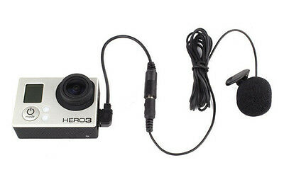 3.5mm External Microphone Clip On Mic + Adapter Cable Kit for GoPro Hero 4 3+ 3