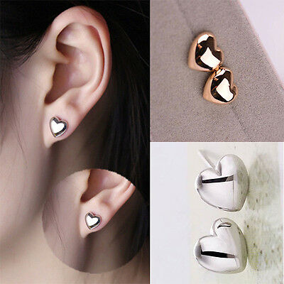1 Pair Women Lady Chic Heart Silver/Rose Gold Plated Charm Ear Stud Earrings