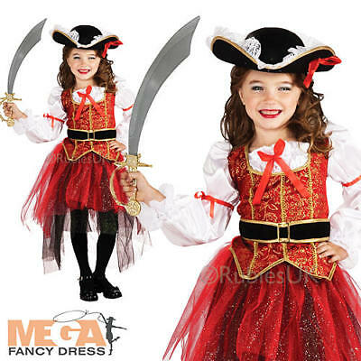 Pirate Princess + Hat Girls Fancy Dress World Book Day Childs Costume Outfit New