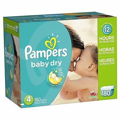 Pampers Baby Dry Diapers Economy Pack Plus Size 4 180 Count (One Month Supply)
