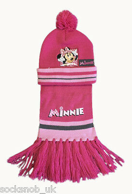 Kids Girls/Boys 2 Piece Cars & Minnie Mouse Hat & Scarf Set