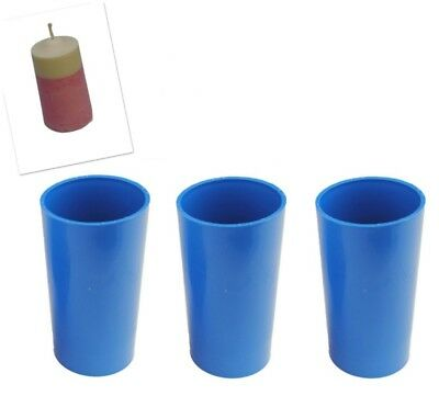 "Proops Set x 3 Pillar Shaped Candle Moulds 4 1/2"" Long 2"" Dia Craft UK Mde S7588"