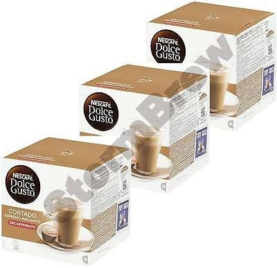 3x NESCAFE DOLCE GUSTO CORTADO DECAF DECAFFEINATED COFFEE PODS BOXES
