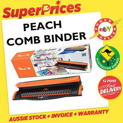 Peach◉Comb Binding Machine A4◉Personal Binder◉Binds 50 Sheets◉Pb200-09◉4 Sheet P