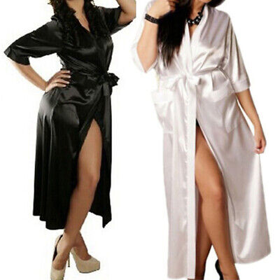 Womens Long Silk Kimono Dressing Gown Bath Robe Babydoll Lingerie Nightdress New