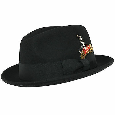 1c3ba141 Crushable C-Crown 100% Wool Felt Fedora Trilby Hat With Removable Feather