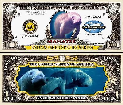 Manatee Million Dollar Bill Collectible Funny Money Novelty Note