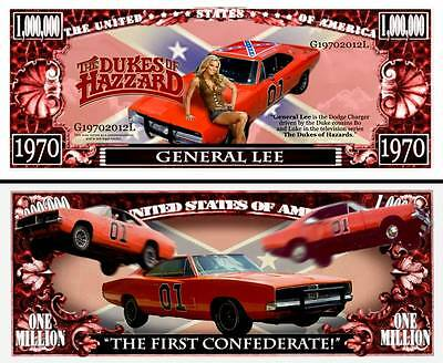 General Lee ~ Dukes of Hazzard ~ Million Dollar Bill Collectible Novelty Note