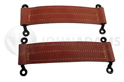 2 x Leather Check Straps Door Horsebox Staples Truck Bus Car Coach Body Vintage