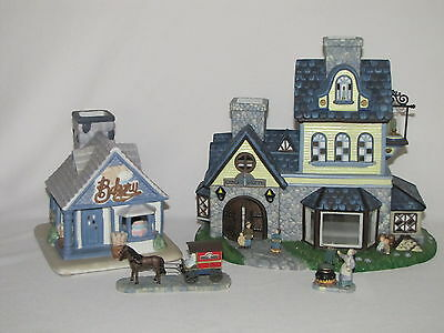 2 PartyLite Village TeaLight Candle Houses Candle Shop Bakery & Delivery Wagon