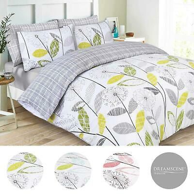 Reversible Duvet Cover with Pillowcase Bedding Set Tartan Check Allium Grey NEW