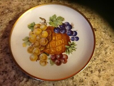 Mitterteich Plate #49 Grapes  Pineapple   Made in Germany  Bavaria Gold Rim