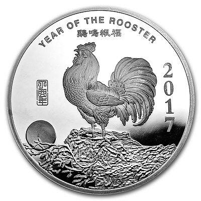 2017 Chinese Lunar Calendar Year Of The Rooster BU 10 oz Silver Round USA Coin