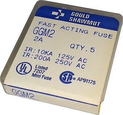 Box of 5 Gould Shawmut Fast Acting Fuse 2A 250V 5mm x 20mm