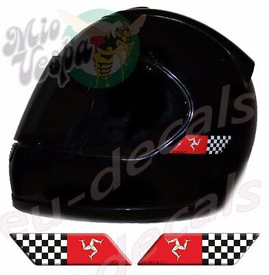 Helmet Isle Of Man & Checkered Flags 3D Decals Left & Right sticker Cafe Racer