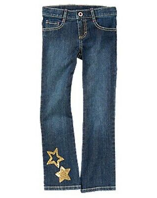 Gymboree STAR OF THE SHOW star sequined bootcut jeans NWT 4 adjustable waist