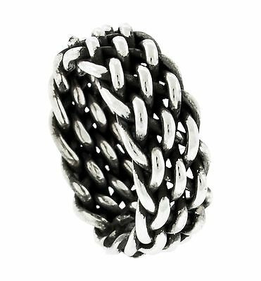 New Antique Style 925 Sterling Silver 8 mm Wide Blacked Braided Band Ring