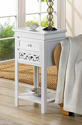 Moroccan floral scroll white sofa End side bedside Table Nightstand drawer shelf