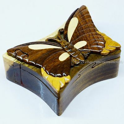 Hand Carved Wood Art Intarsia Butterfly Puzzle Jewelry Trinket Box Home Decor