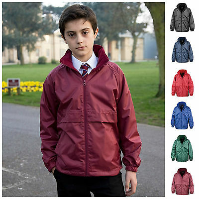 Childrens Waterproof Jacket School Boys Girls Childs Coat Hooded Fleece Lined