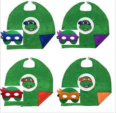 Teenage Mutant Ninja Turtles Cape Mask Set Costume Kids cospiay Party Gifts HOT