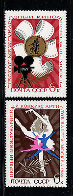 RUSIA/URSS RUSSIA/USSR1969 MNH SC.3602/3603 Film Festival and Ballet Competition