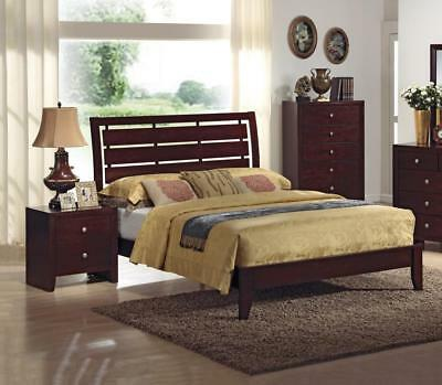 Solid Wood Cherry Finish Queen Size Bedroom Set 3pcs Crown Mark