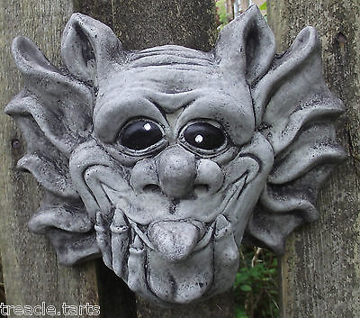 Large TongueOut Gargoyle Wall Plaque Hand Cast Stone Garden Ornament-23x9x20 cms