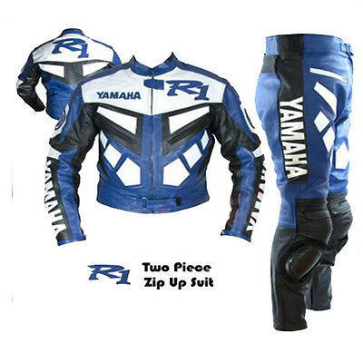Yamaha R Blue 2 Piece Motorcycle Racing Men's Cowhide Leather Suit-Free Uk Ship
