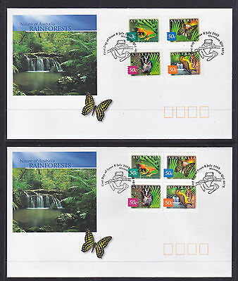 2003 RAIN FORESTS SHEET AND P/S SETS ON 2  FDCs
