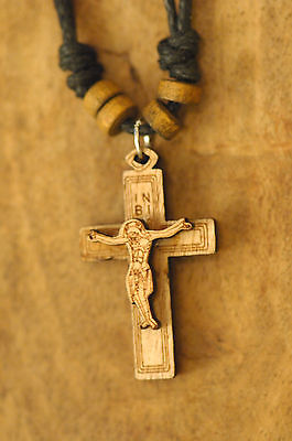 Handmade Christian Orthodox Pendant with Wooden Cross Necklace Crucifix No6