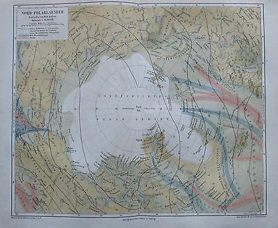 1875 NORD POLARLAENDER original historische Landkarte antique map Lithografie