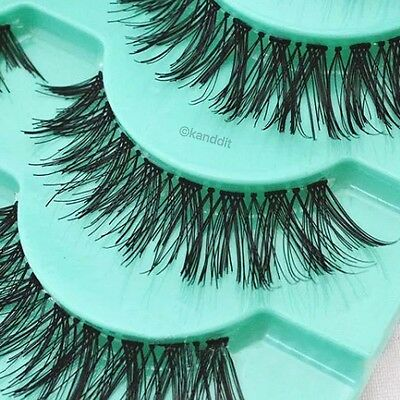 5 Pairs Natural Long Handmade Black Thick Fake False Eyelashes Lashes Makeup UK