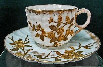 Ott & Brewer 171 American Belleek Demitasse Cup & Saucer Heavy Gilt Decoration